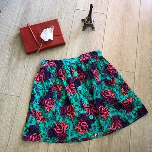 Frenchi Nordstrom Rose Button High Waisted Skirt